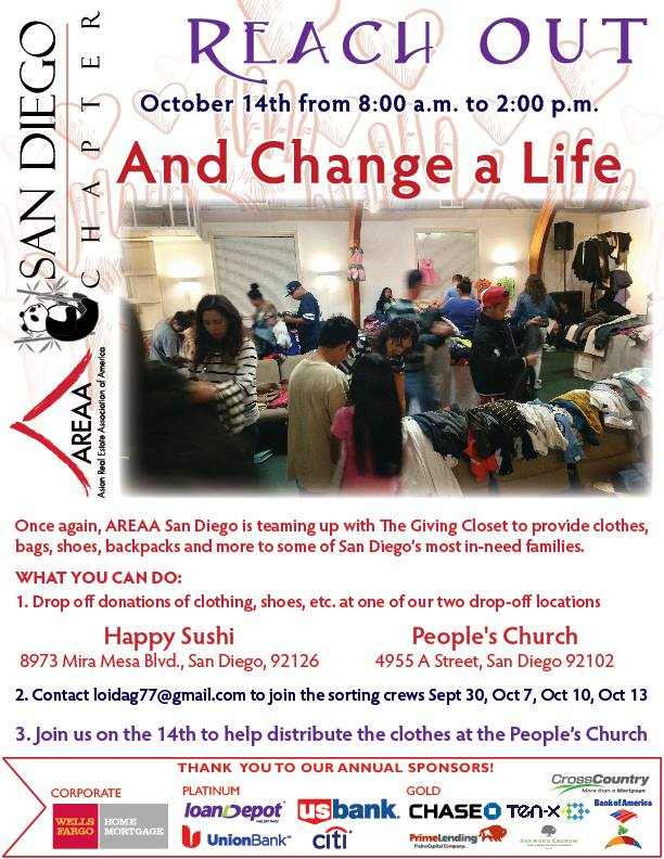 Community Outreach - AREAA SD - The Giving Closet Serving the Community in need of clothes, shoes, bags, coats, jackets, back packs for all ages, men, women, kids.