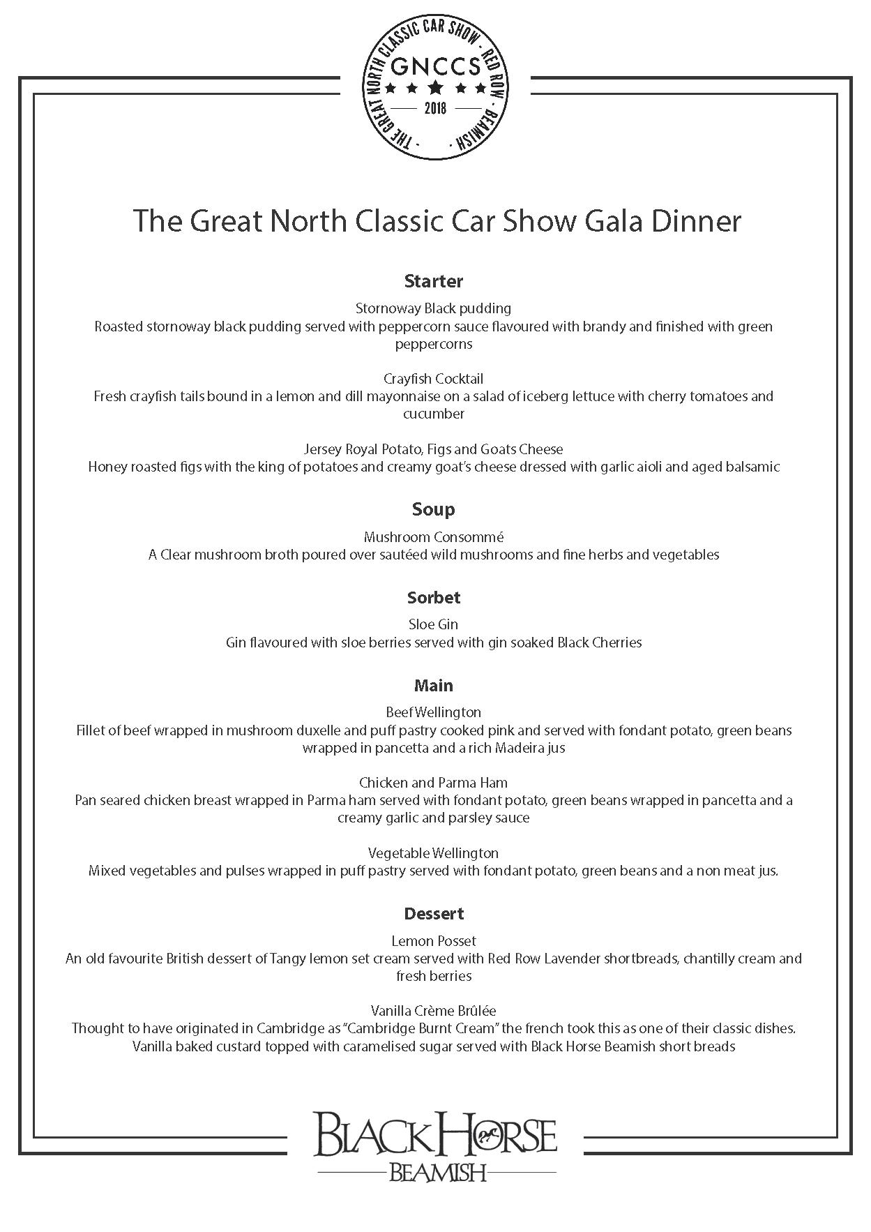 Great North Classic Car Show Gala Dinner Menu
