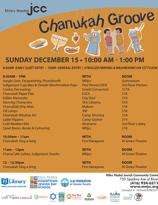 Chanukah Groove Schedule