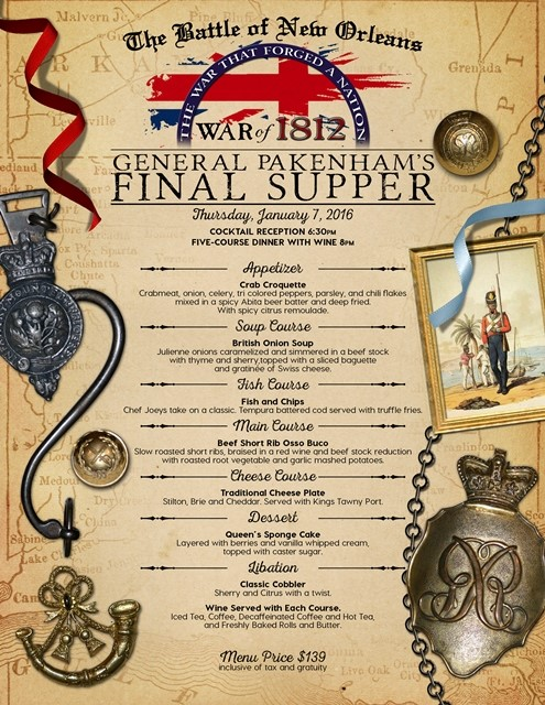 General Paknham's Final Supper Menu