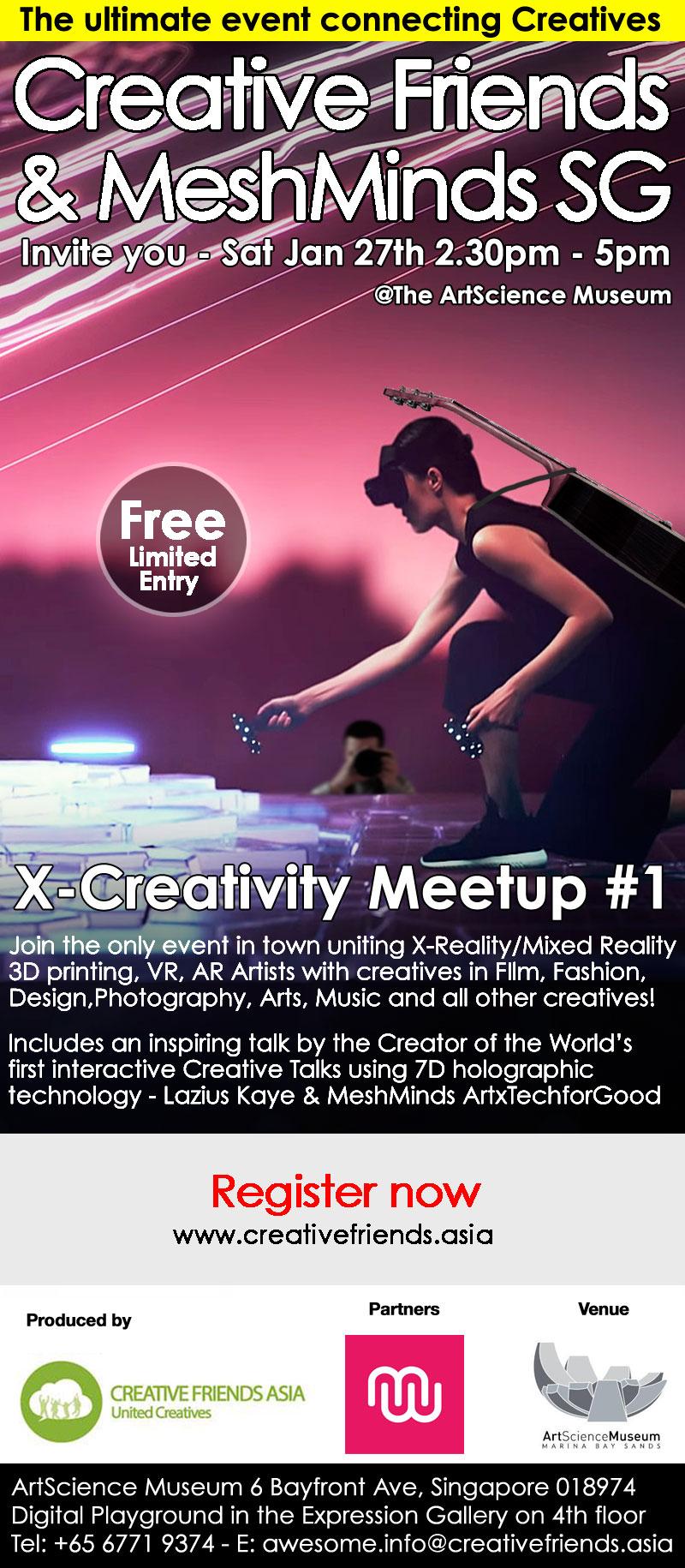 X-Creativity Creative Friend MeshMinds event flyer
