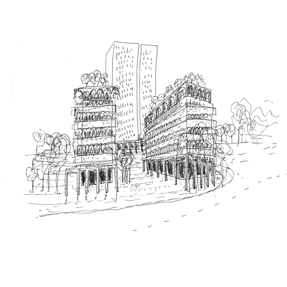 Murray Grove, Hoxton, Architect's sketch