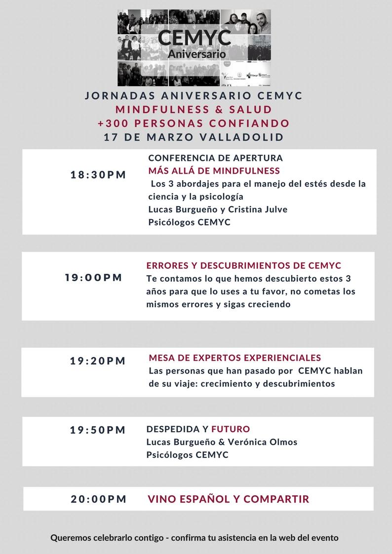 Porgrama de Jornada aniversario Mindfulness CEMYC
