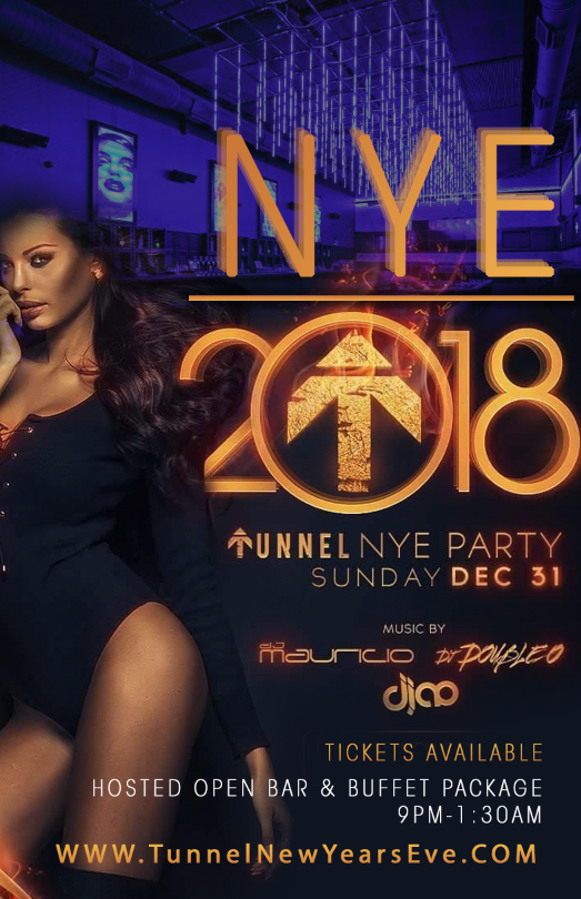Tunnel New Year's Eve Party - Ticket Holders Can Expect:  Custom Food Buffet, Open Bar 9pm - 1:30am, Midnight Countdown , 2018 Party Favors, Private Tables and Sections for Reserve, Countless Bar Access Points, and More
