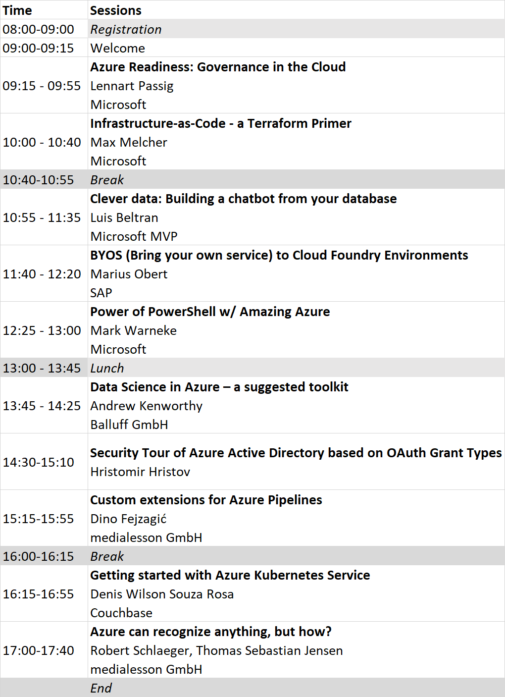 Global Azure Bootcamp Agenda