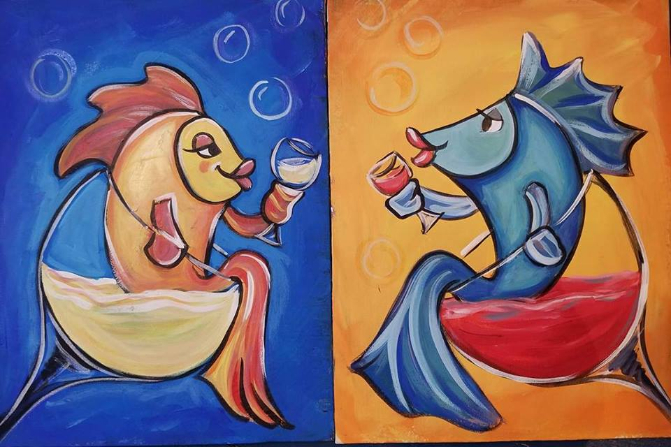 BFF Paint and Wine Party - Two Fish Drinking Wine