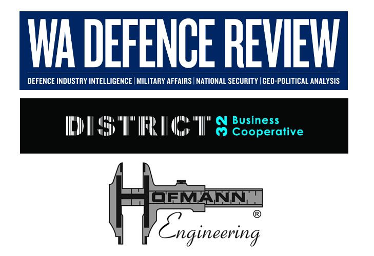 Logos for WA DEFENCE REVIEW, Hofmann Engineering and District 32