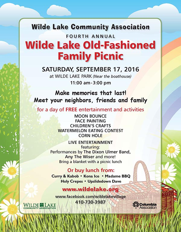 Wilde Lake Old Fashioned Family picnic 2016 flier