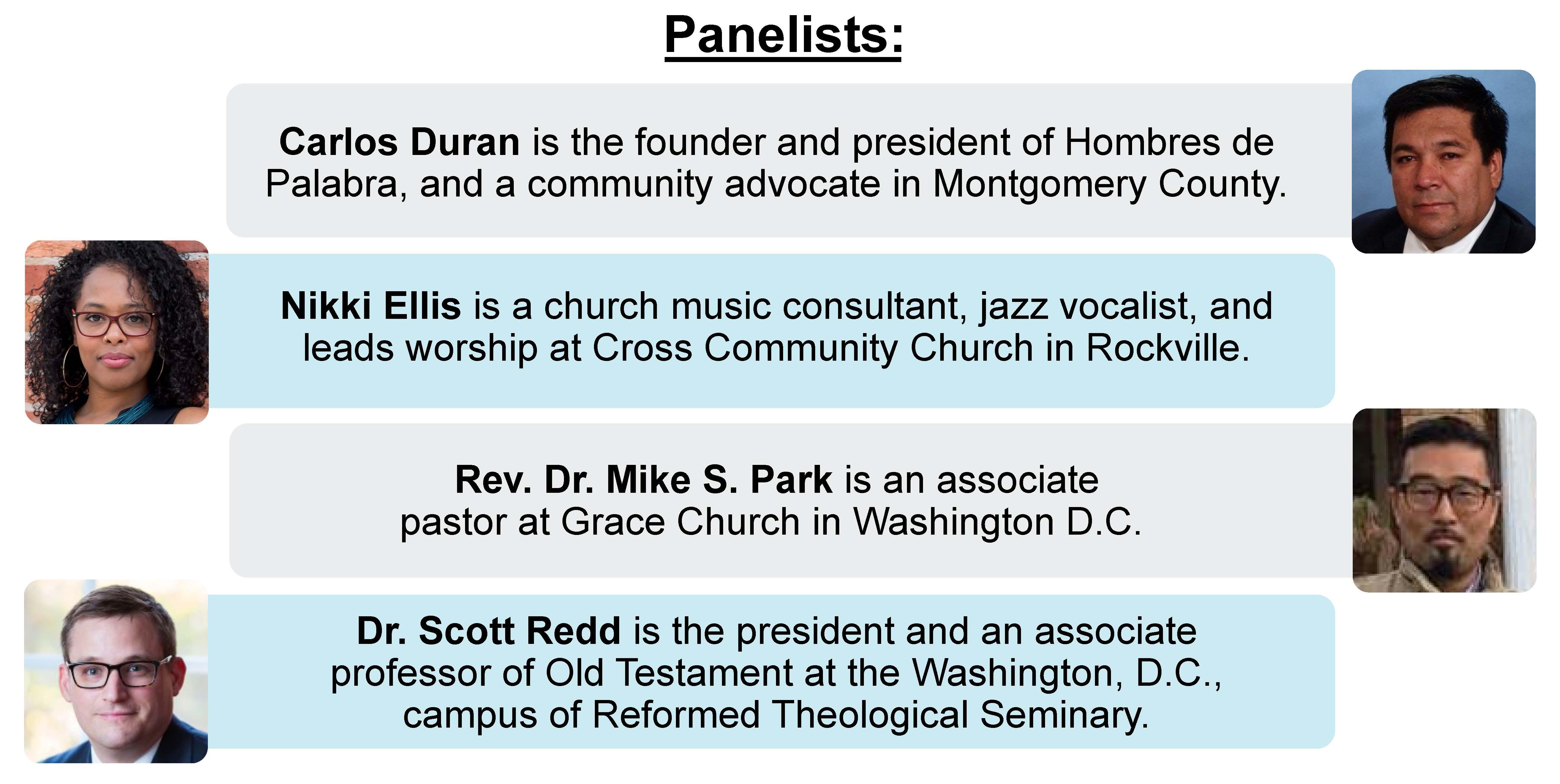 Panelists brief descriptions