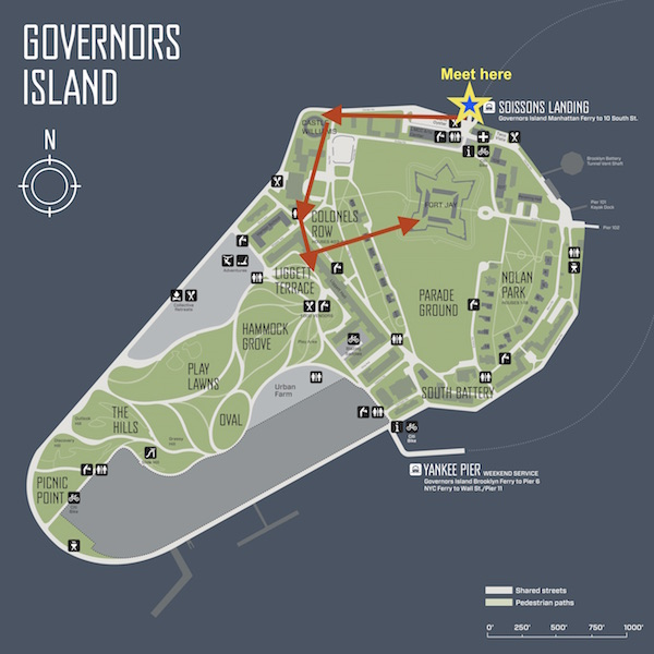 Map of Governors Island with pathway and meeting place