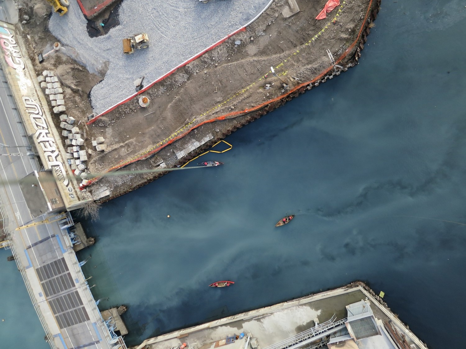 Aerial photograph of the Gowanus Canal in Brookly, NY post hurricane Sandy