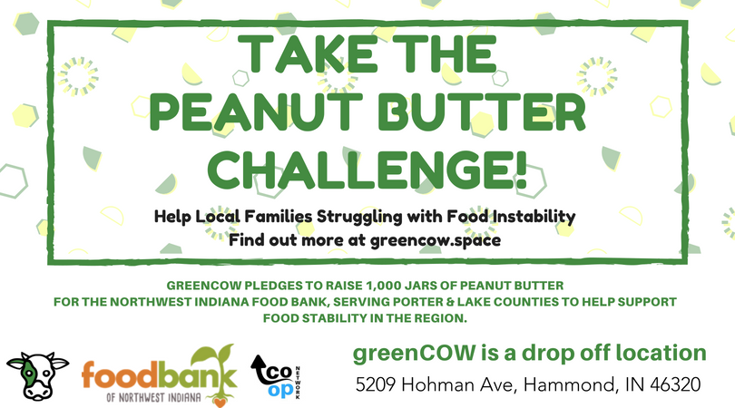 Take the peanut butter challenge and donate jars of peanut butter at greenCOW Coworking