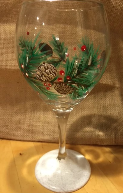 Snowy Pinecones painted wine glass