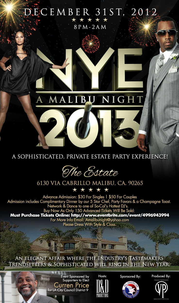 FLYER FOR A NIGHT IN MALIBU | NYE 2013