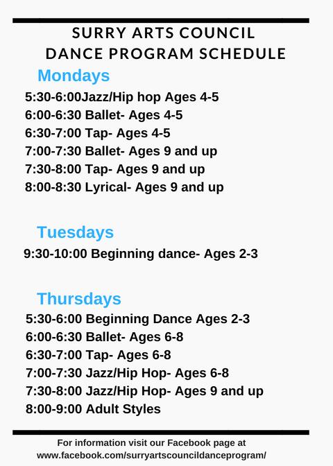 Surry Arts Council Dance Program Schedule