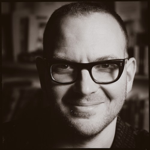 Black and white photo of Cory Doctorow