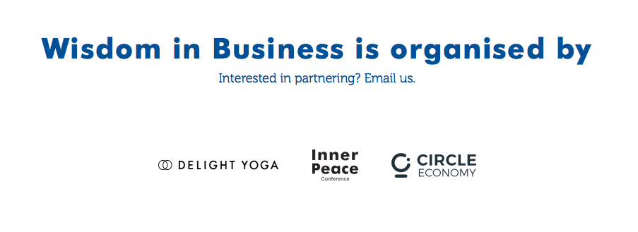Wisdom in Business partner logos: Delight Yoga, Inner Peace Conference & Circle Economy