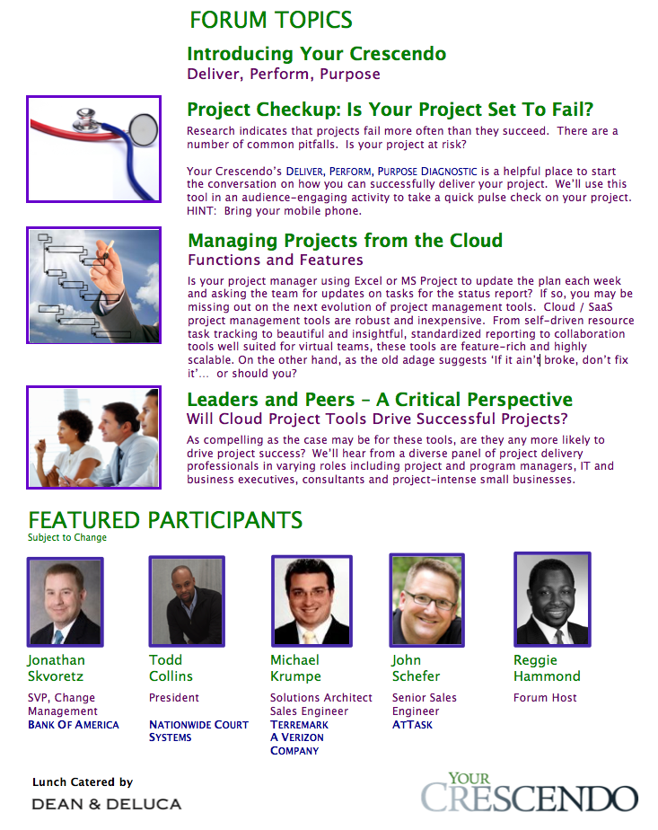 Managing Projects from the Clouds - Agenda and Participants