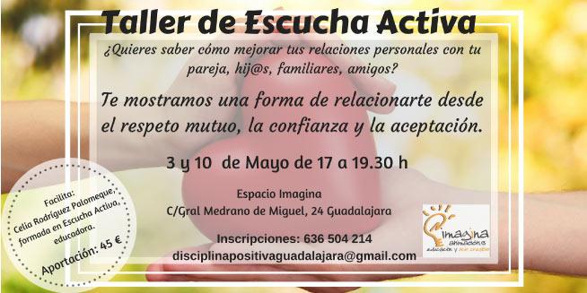 taller de escucha activa 3 y 10 de mayo de 17 a 19.3o h