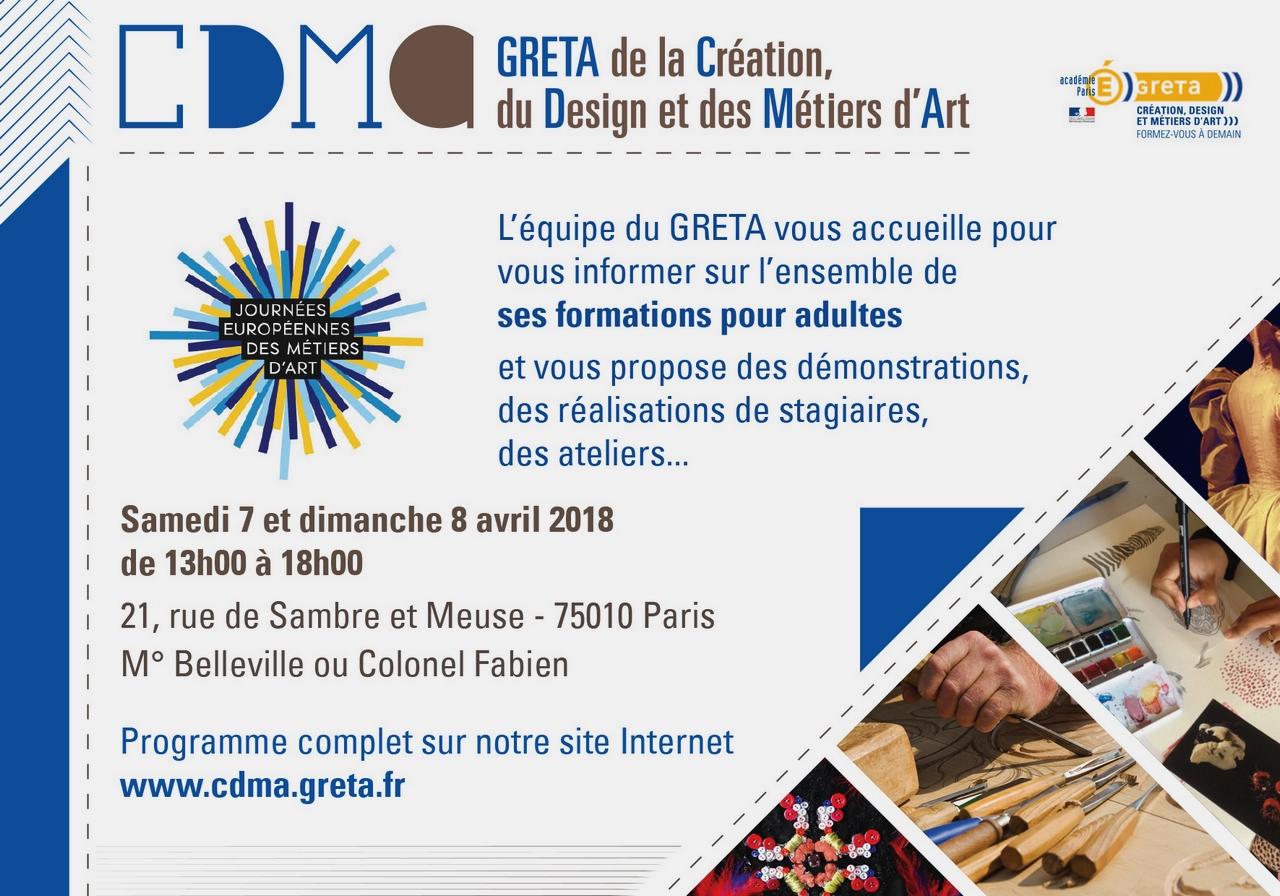 flyer du programme des JEMA 2018 pour le GRETA CDMA