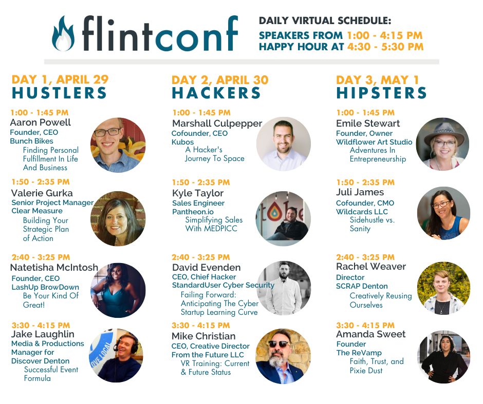 FlintConf speaker time slots and full three-day schedule