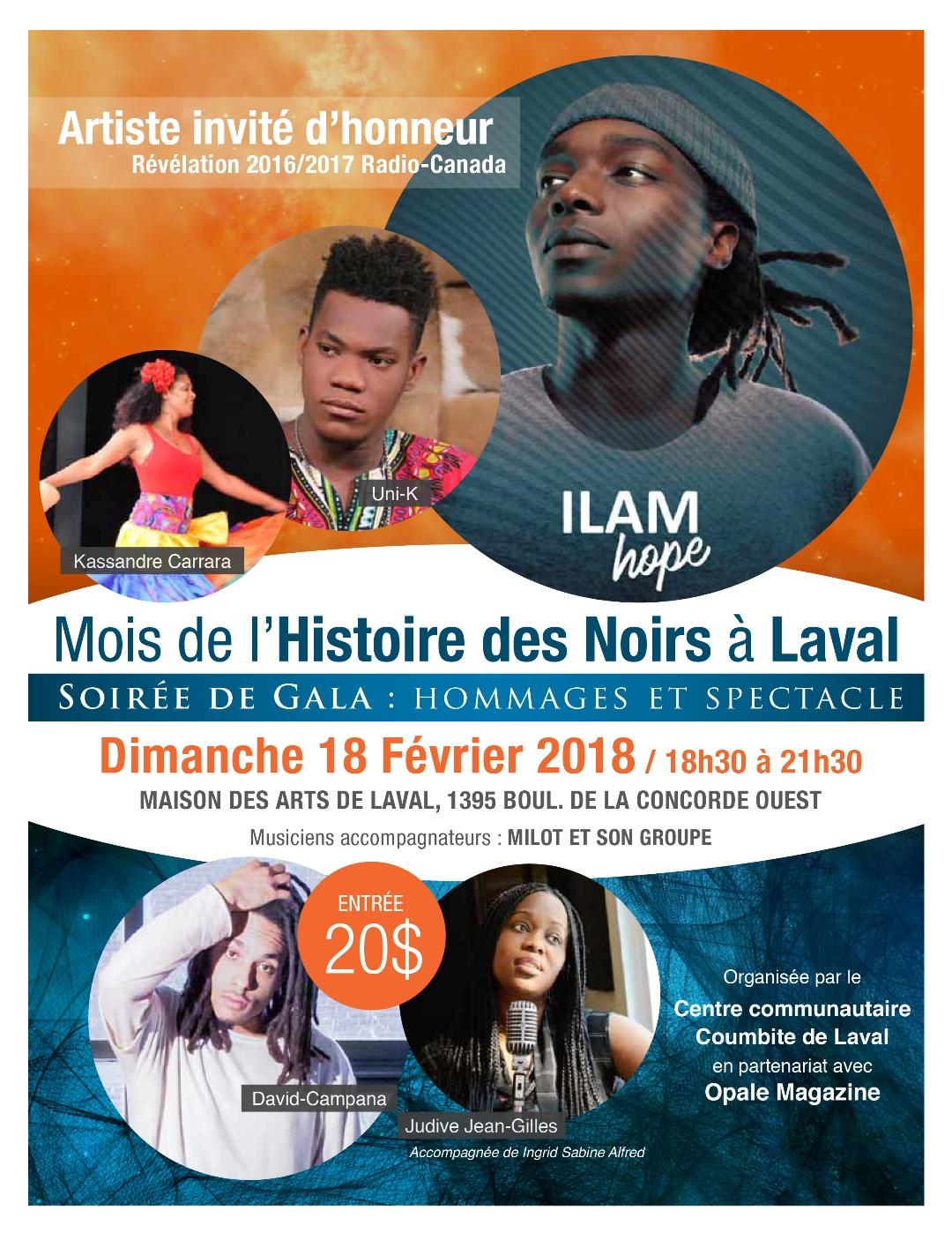 Affiche du Gala du 18 février du Mois de l'Histoire des Noirs 2018 à Laval