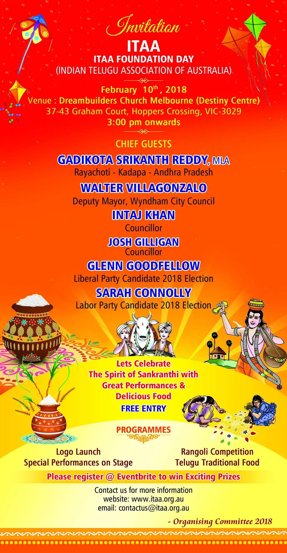 ITAA Foundation Day & Sankranthi Celebrations Tickets, Sat, 10/02 ...