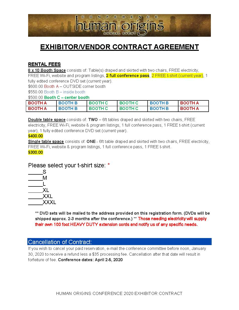 Exhibitor Contract page 1
