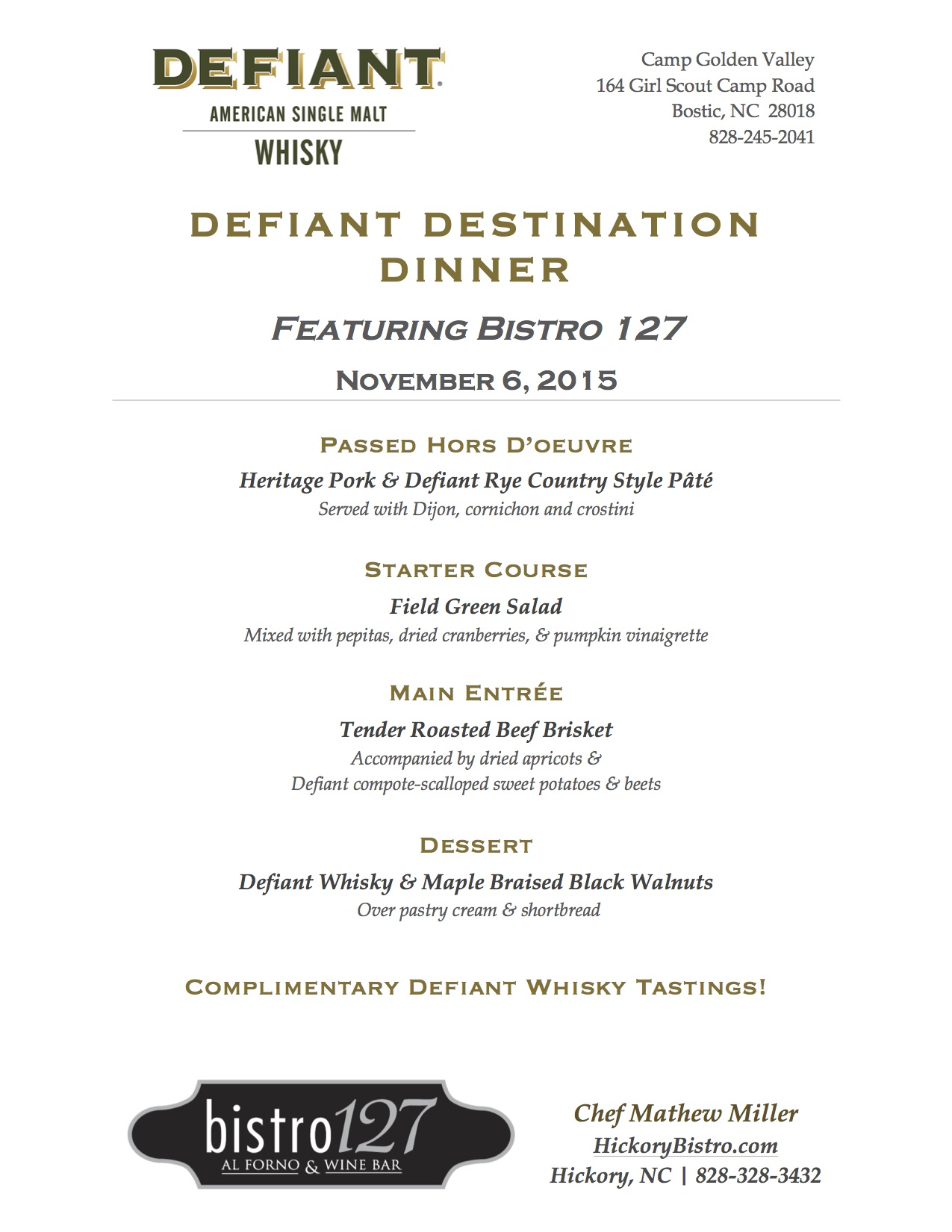 Defiant destination dinner november 6th defiant for Table 6 brunch menu