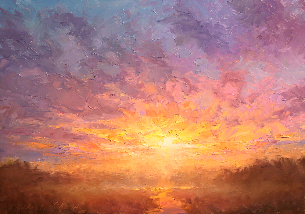 All Things New - Impressionistic Sunrise Oil Painting by Karen Whitworth