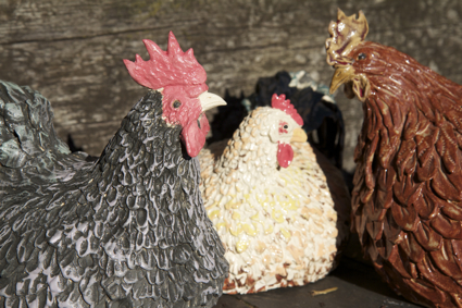finished chicken sculptures