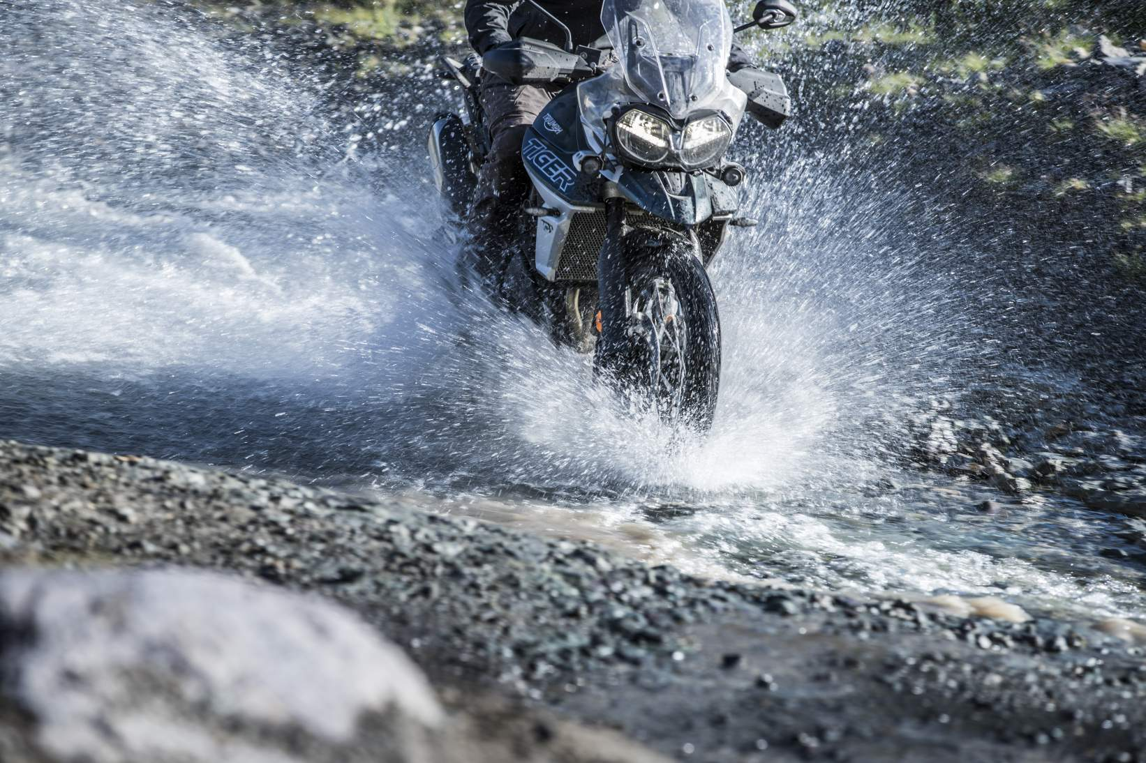Tiger 800 water crossing as part of the training at the Triumph Adventure Experience