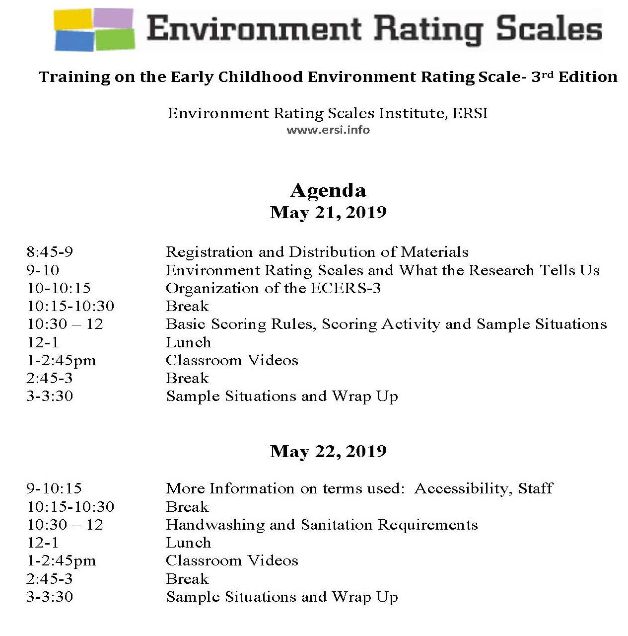 ECERS-3 Agenda