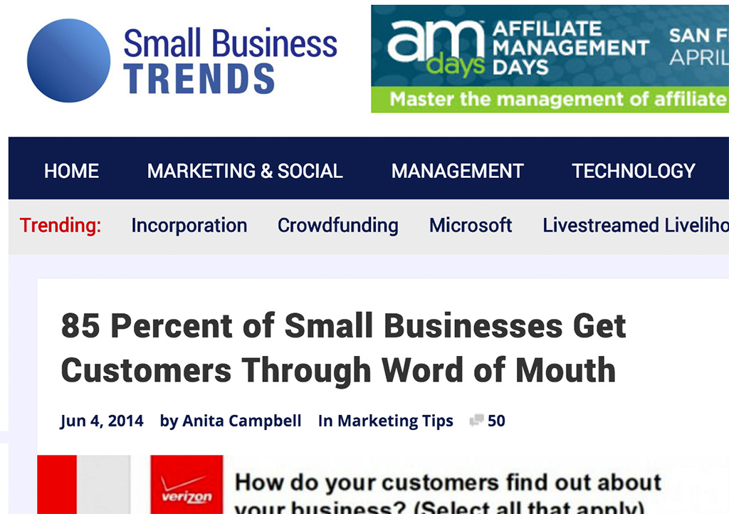 85% through word of mouth