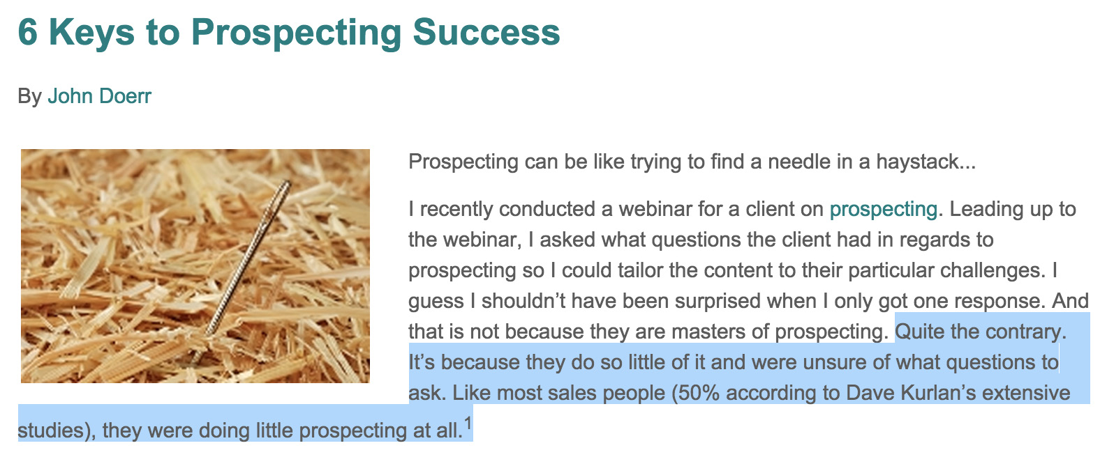 Importance of Prospecting