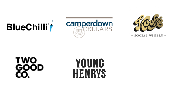 logos: bluechilli, camperdown cellars, kooks wines, two good co, young henrys