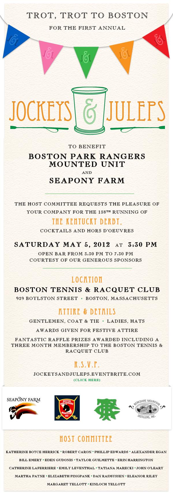 Jockeys & Juleps - Benefitting Boston Park Rangers Mounted Unit and SeaPony Farm
