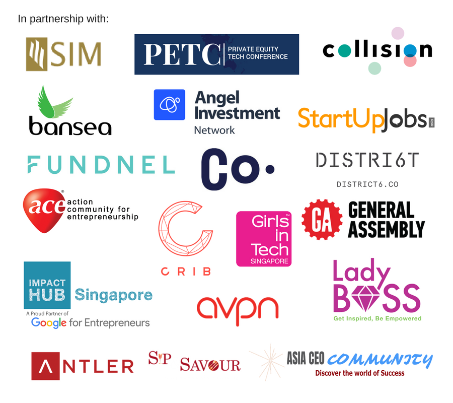 Partners SIM, PETC, C8, SUJ, AIN, Fundnel, Bansea, Co., D6, GA, Ace, AVPN, Asia CEO, Ladyboss, CRIB, Antler, Sip & Savour