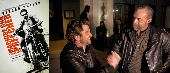 Sam and Gerard butler and poster
