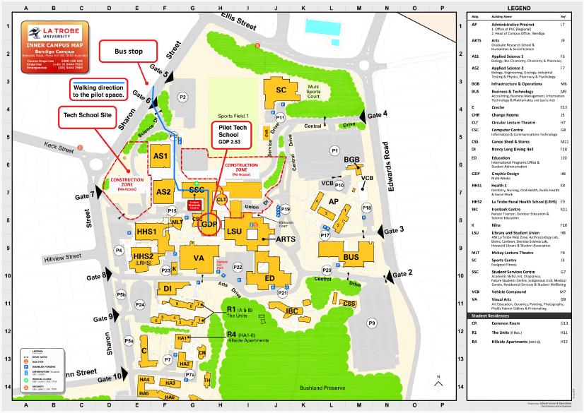 Location of the Bendigo Tech School and Pilot Space, on La Trobe University Bendigo Campus