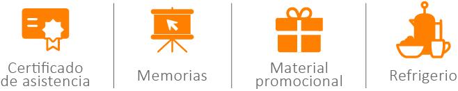 Certificado de asistencia, memorias de las conferencias, material promocional, refrigerio.