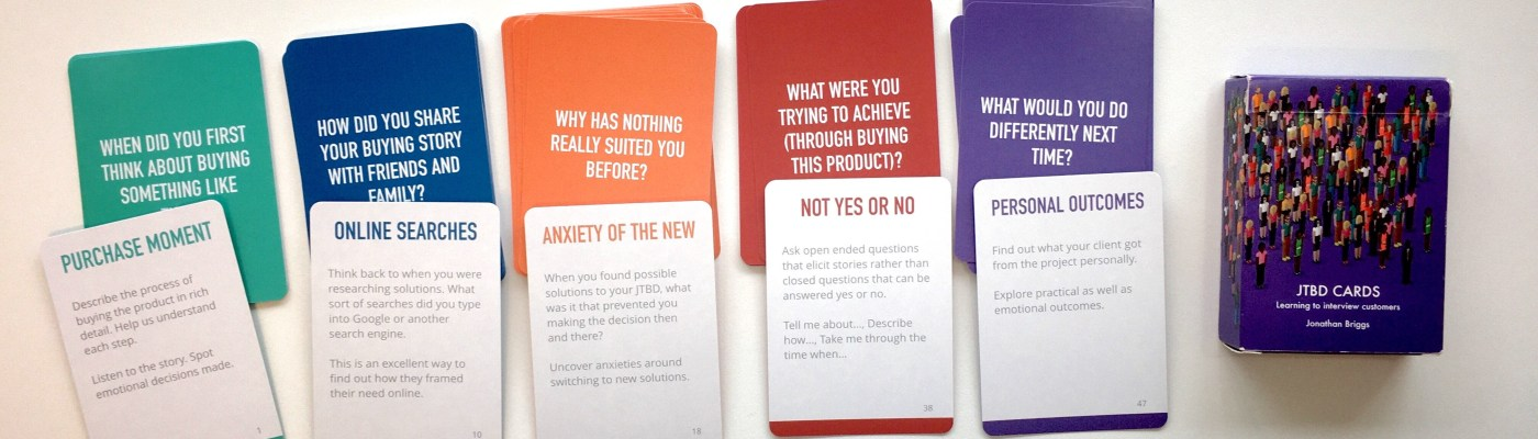 Jobs to be done cards by Jonathan Briggs