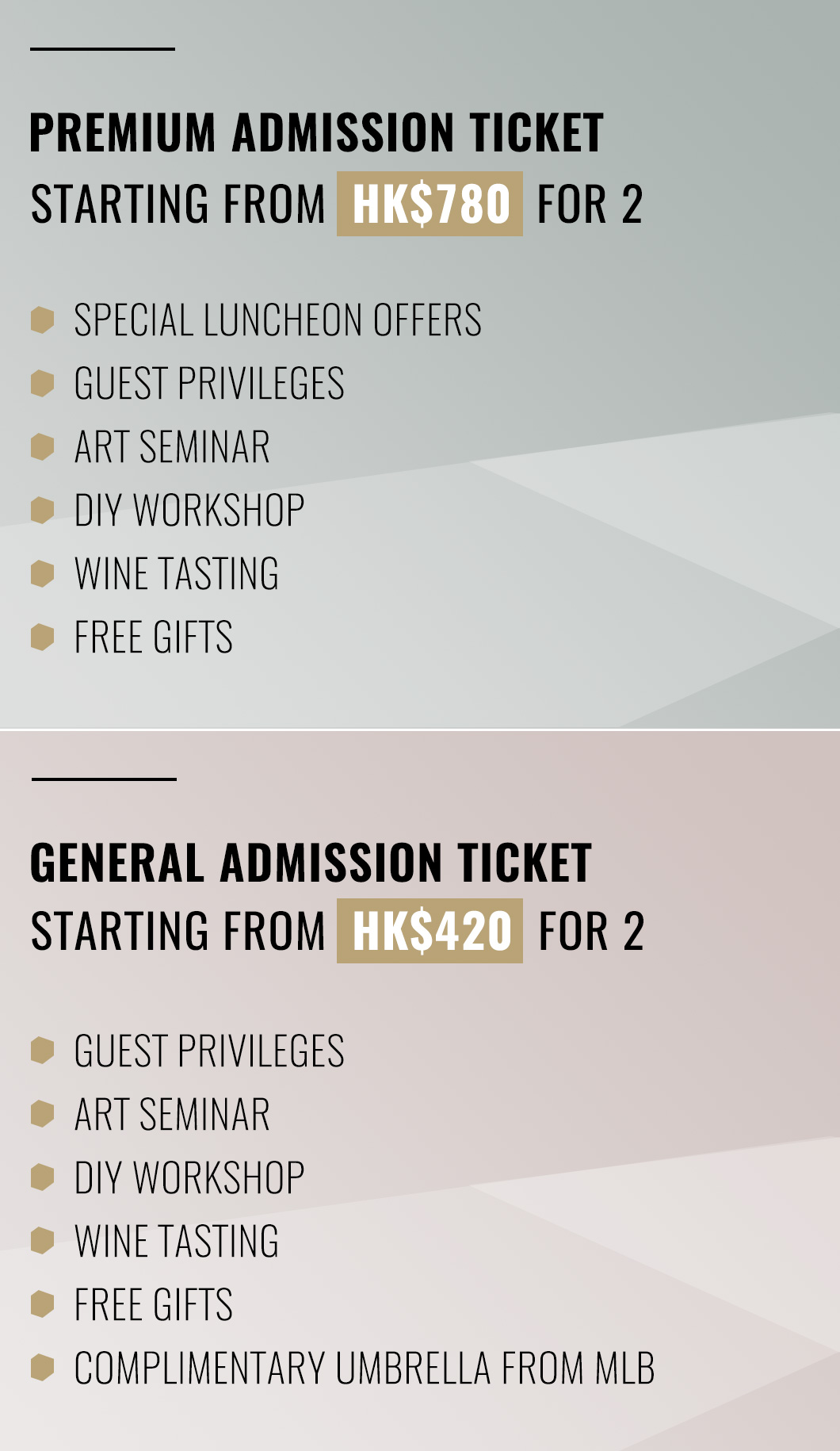 Premium/General Admission Ticket Price