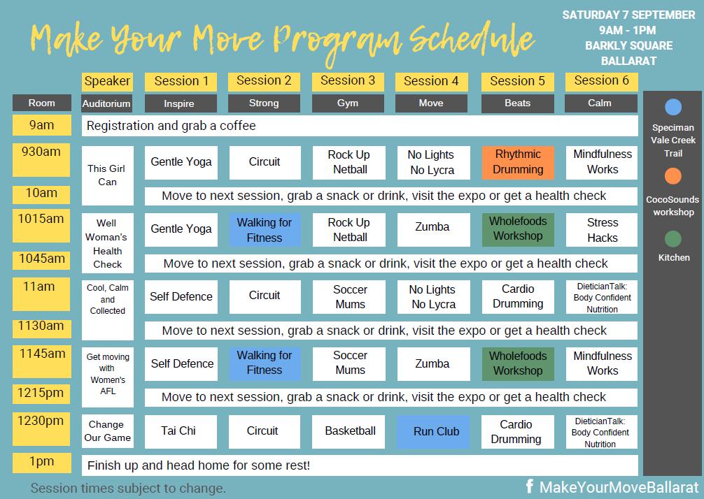 Make Your Move Program Schedule