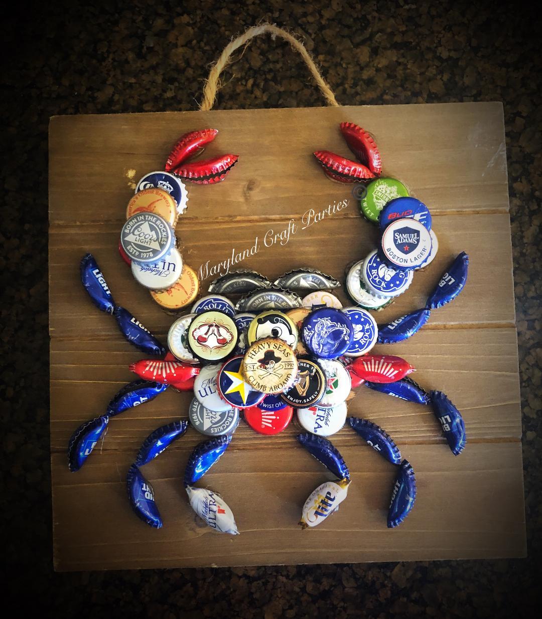 bottle cap crab Maryland craft parties
