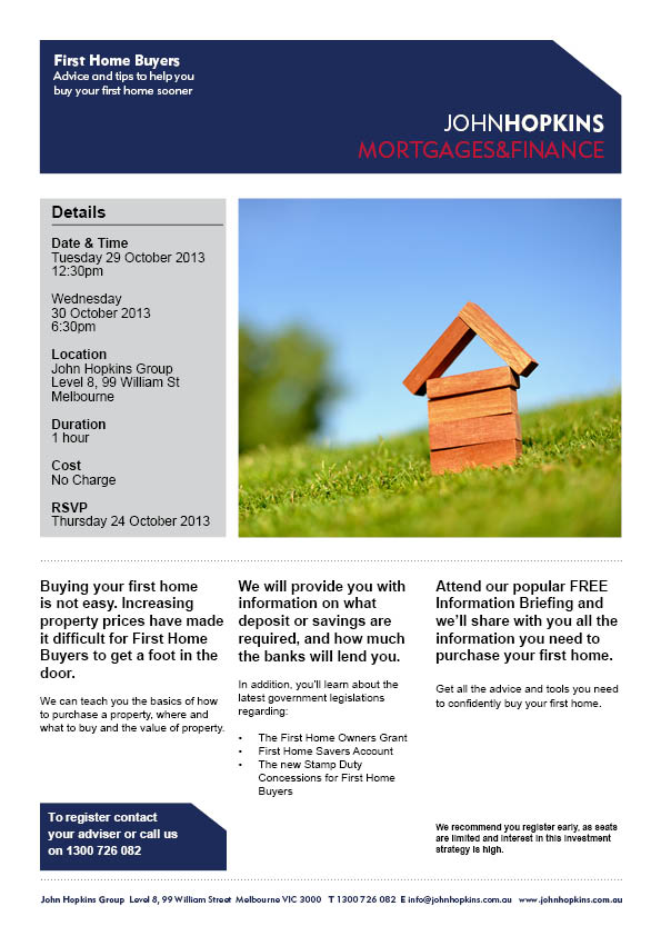 First Home Buyers Invitation October 2013