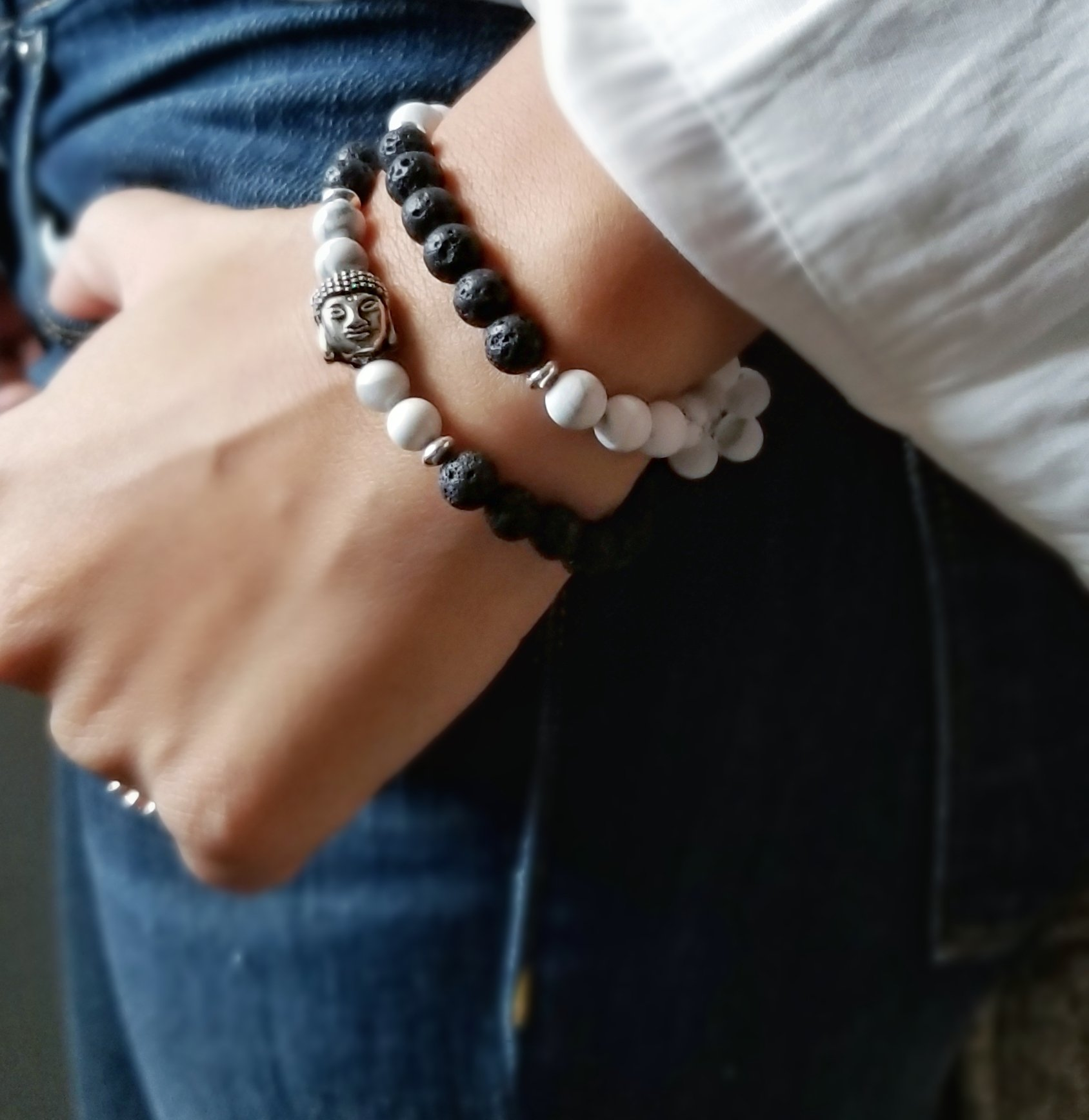 The Find Your Calm and Find Your Calm (Budda) Bracelets - Made with lava stone beads