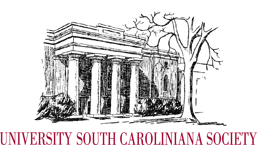 Etching of front facade of the South Caroliniana Library, featuring prominent white columns, and the words University South Caroliniana Society underneath