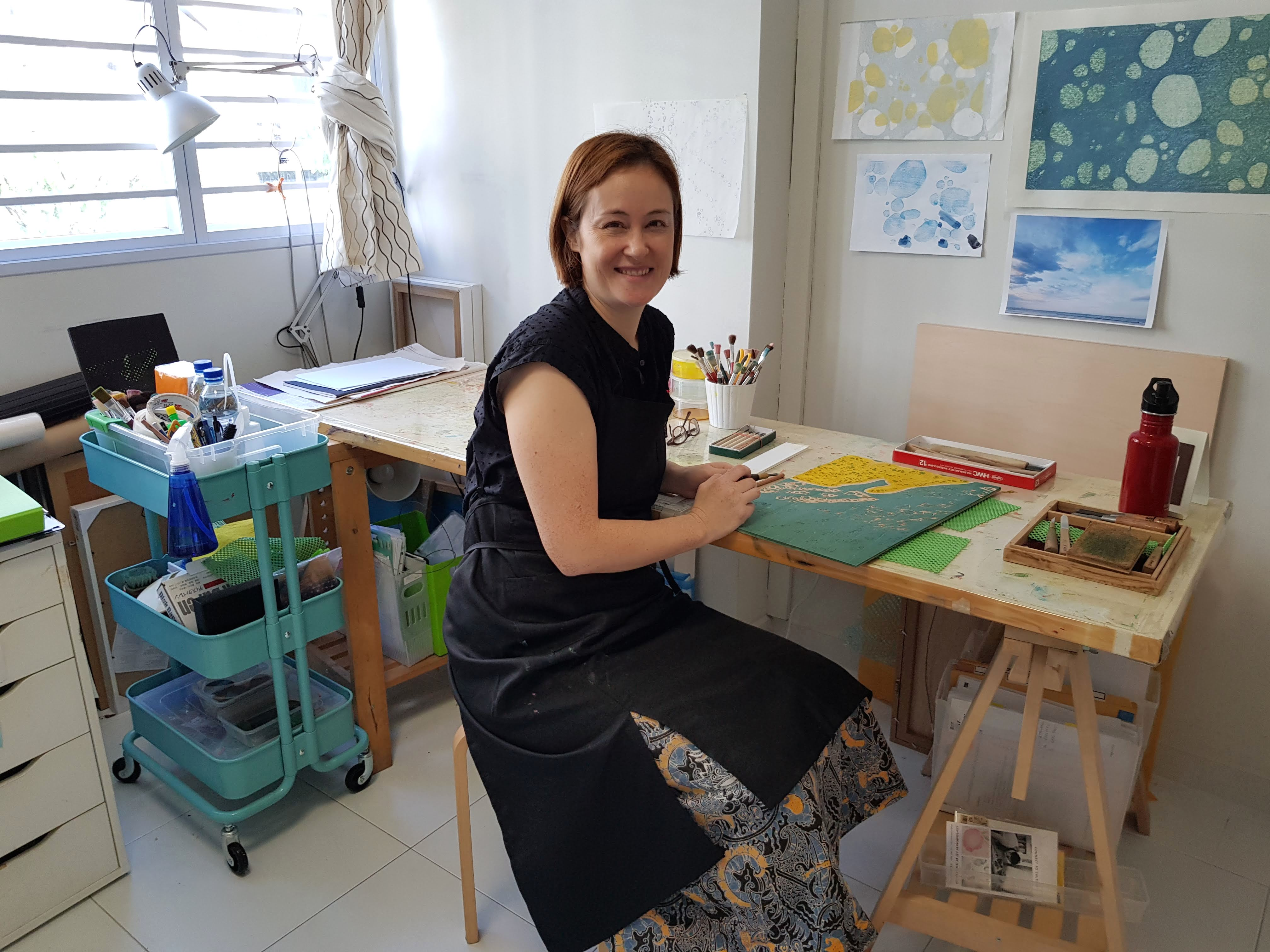 Artist Jennifer Lim in Singapore with Japanese woodblock
