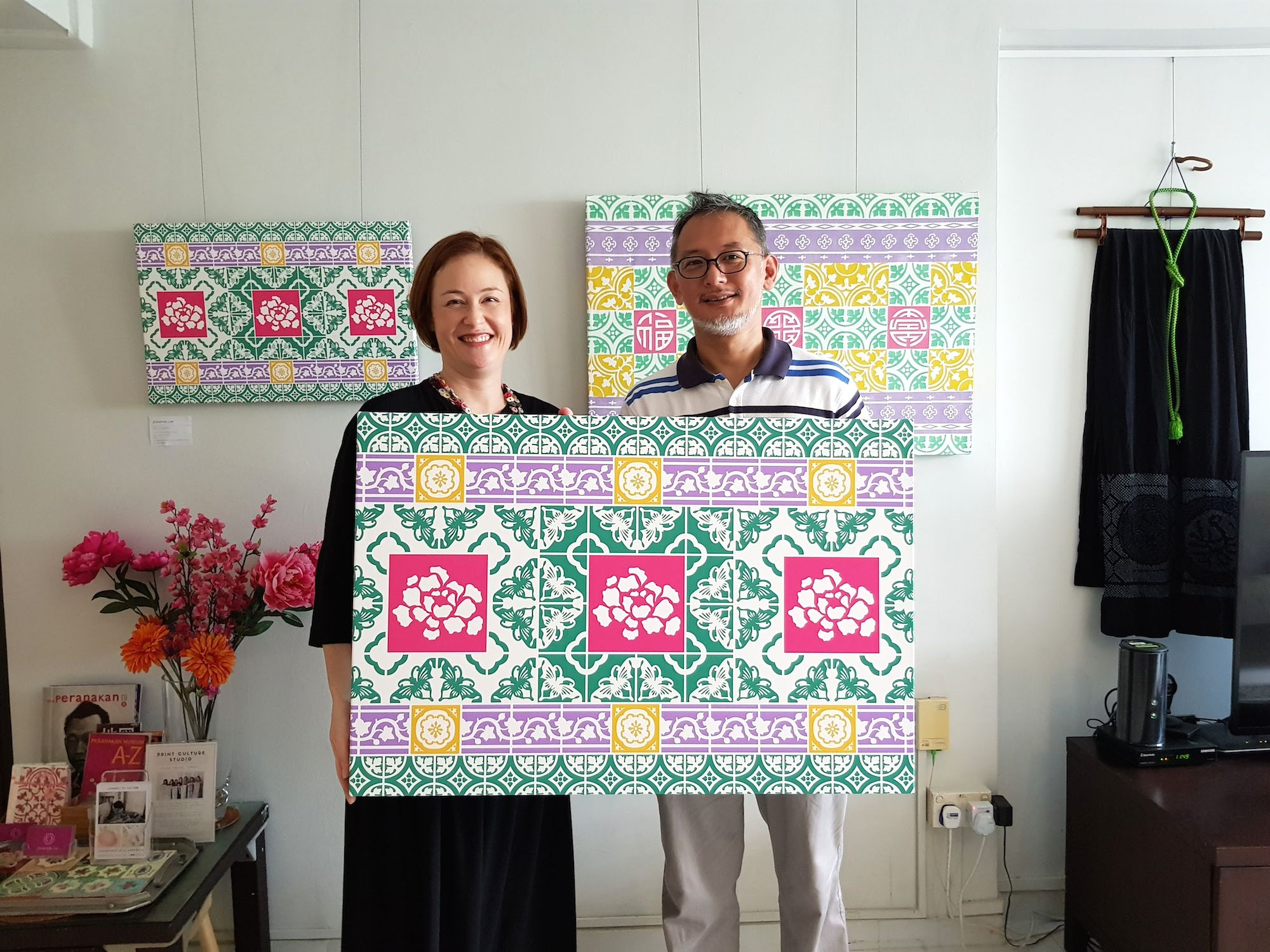 Peony butterflies in Peranakan tile artwork
